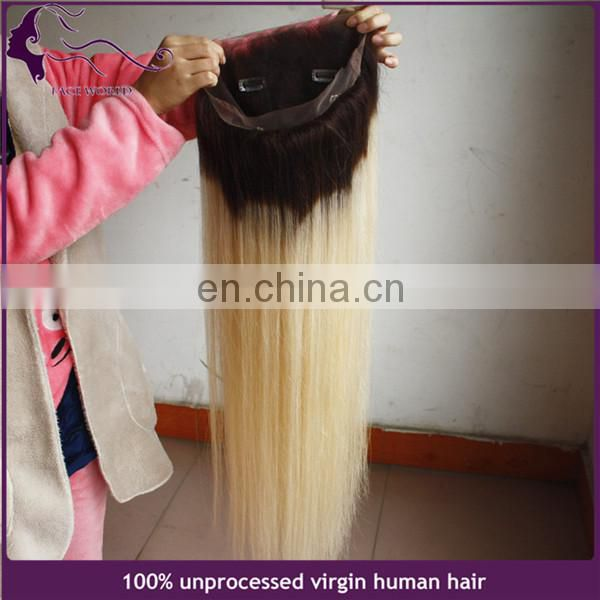 26inch long top quality ombre blonde color brazilian full lace human hair wig