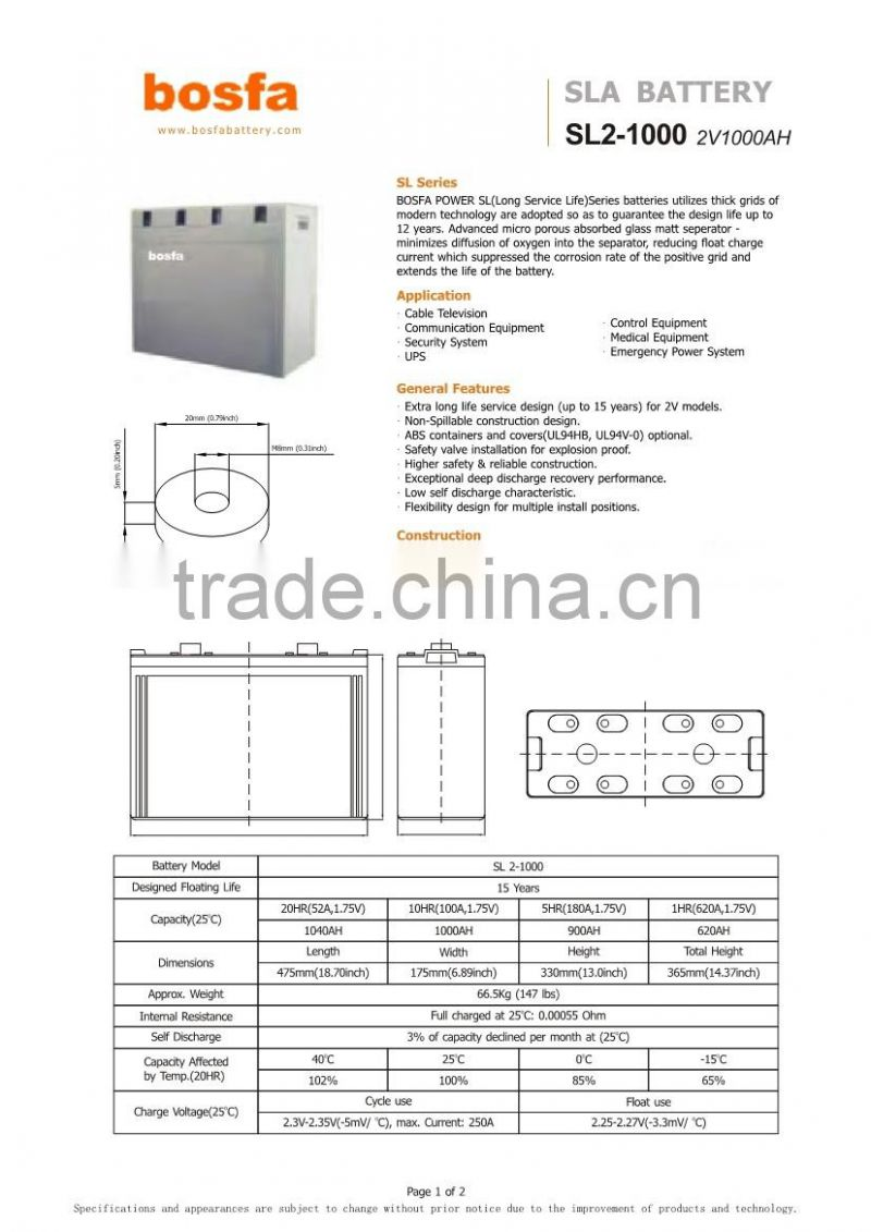 2v 1000ah battery agm from ups battery supplier