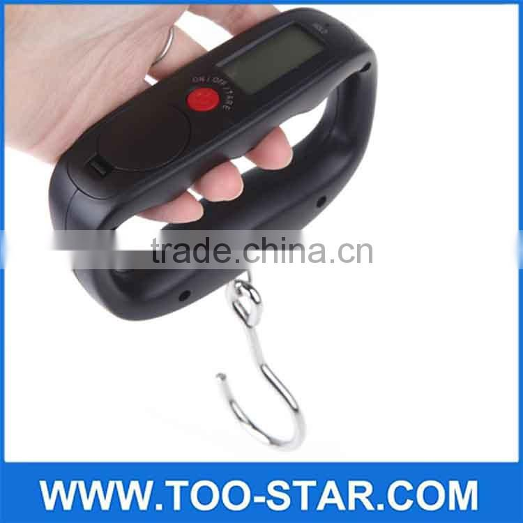 Black LCD Screen 50Kg/10g Fish Hook Hanging Digital Weighing Luggage Scales