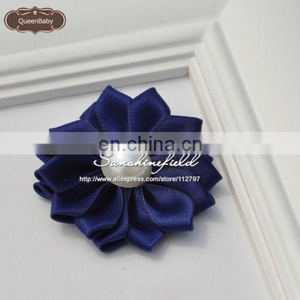 Cute Jewelry 2013 Hot Sale Mini Satin Ribbon Flower With Pearl DIY Flowers Girl's Hair Accessories sunshine field