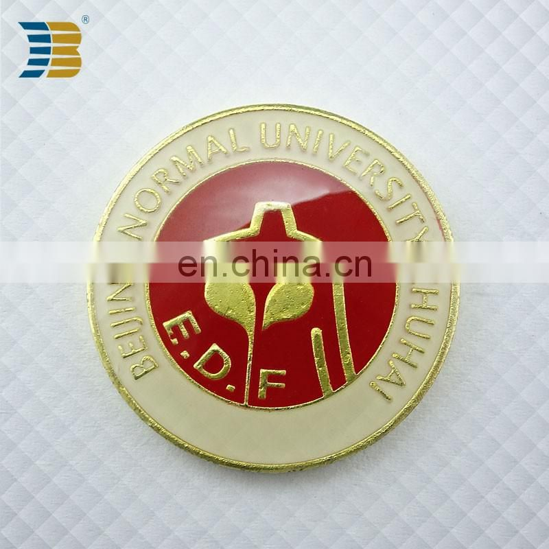 cheap custom enamel gold plating badge for Beijing Normal University