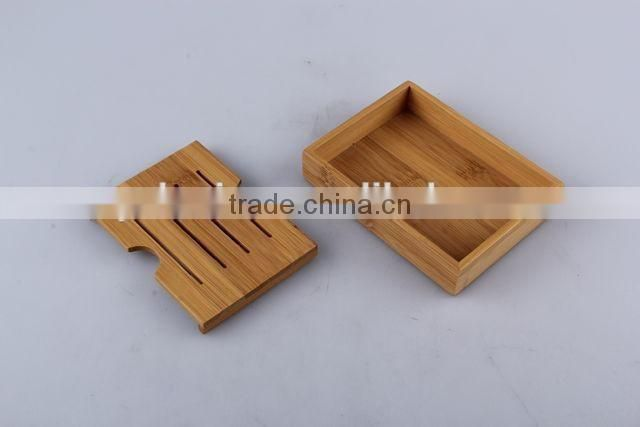Double layer separable bamboo soap box rectangular soap dishes