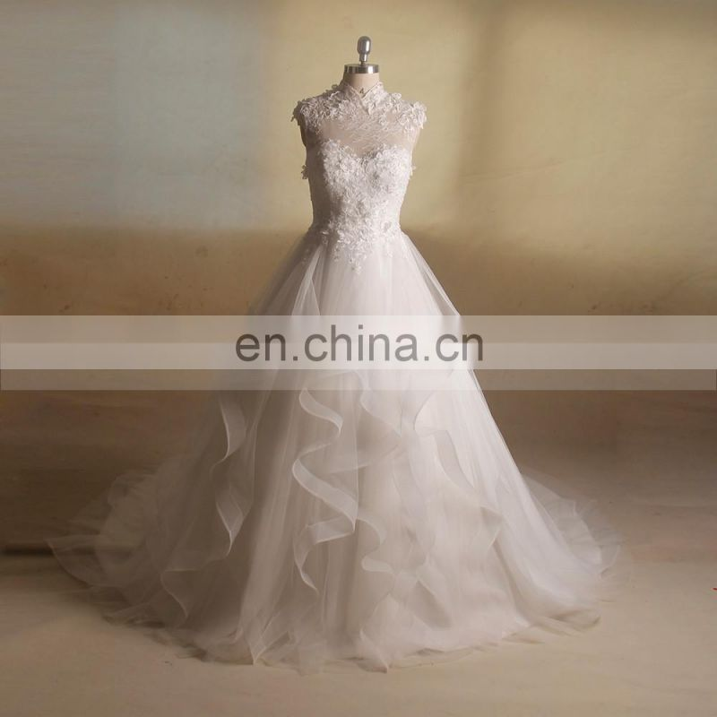 Intellectuality High Collar Lace Beads Sequin Flowers Tiered Long Train Wedding Gown