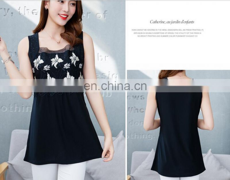 Two-piece hot drill embroidery designed lady tank top and cardigan set