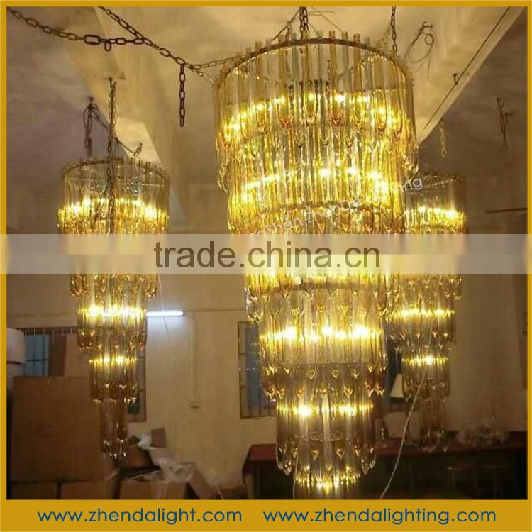 Gold color 5 rings Triangle crystal chandelier &luxury wedding centerpiece chandelier
