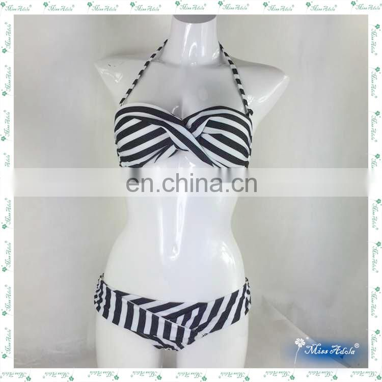 MissAdola latest hot sale black white stripe digital print stomach straps bikini beautiful ladies swimwear girl bathing suit