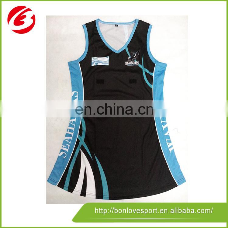 Never fade 100 polyester netball jersey for dancing club