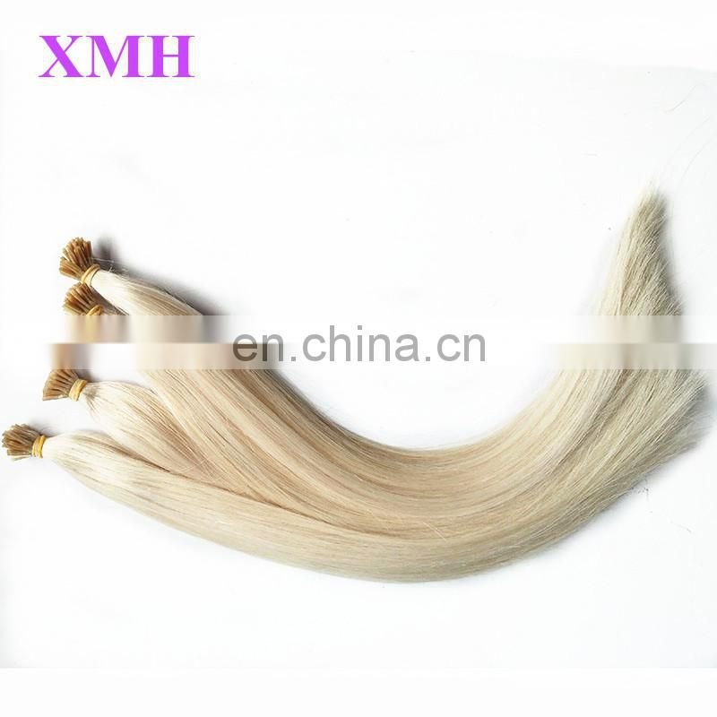 Factory Popular human hair 60# blonde color 1g/strands pre bonded I tip hair extension