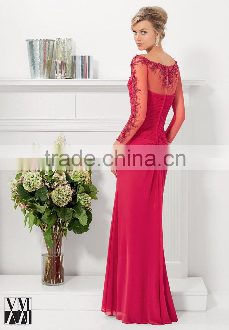 HA-005 2015 Beautiful Charming V-neck Sheer Full Sleeve Celebrate Dress A-Line Appliques Pleats Prom Quinceanera Dress