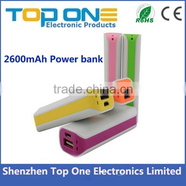 Power bank 2600mah, mobile power supply, portable usb travel battery charger