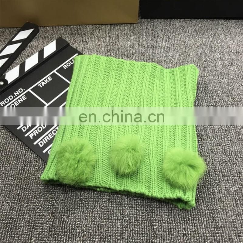 Winter kids knitted neck warmer child fur bobble/ball fashion neck scarf