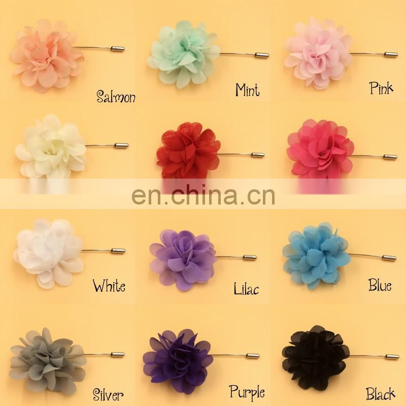 Mini Chiffon Flower Label Pins Fabric Flower On Silver Plated Laped Stick Pin With End Protenctorb