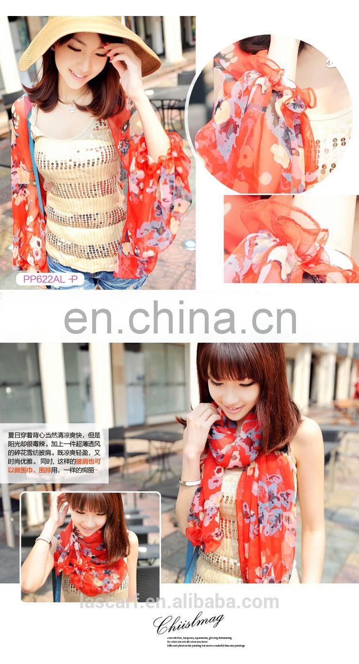 2015 summer Uv protection flower raglan sleeves shawl(PP622AL-P)
