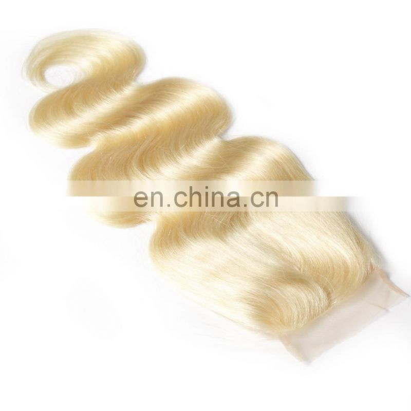 "Color 613 body wave virgin brazilian 4*4"" lace closure blonde"