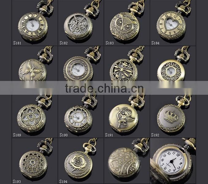 2016 Classic Vintage Bronze Amber Glass Quartz Pocket Watch In Bulk Pendent Necklace Gift