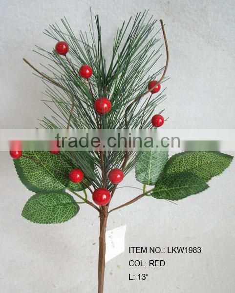 "high quality newest special artificial holly leaves and foam red berry pick 8"" branches pick for chrismas home decoration pick"