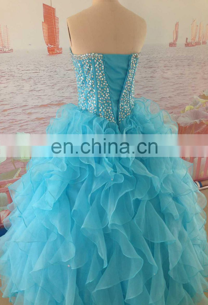 Real Photos Mint Green Organza Party Dress Beaded Rhinestone Ball Gown Girls Party Ruffles Prom Dresses Formal Evening Dresses