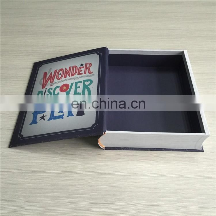 Hot sale in Canada book shape rigid cardboard paper gift box with magnet