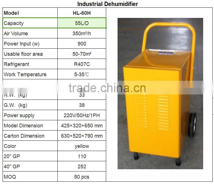 2017 fashion design 220v ,55L/D Industrial Dehumidifier with air handle unit