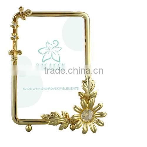 "24K gold plated Square 3.5x5"" Picture Frame with Rose"