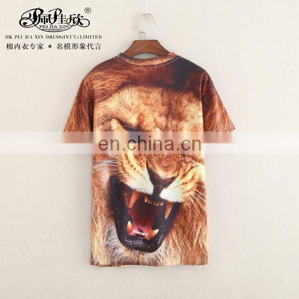 Peijiaxin Latest Design Casual Style OEM Fashion Mens Tiger Printed 3D Tshirt