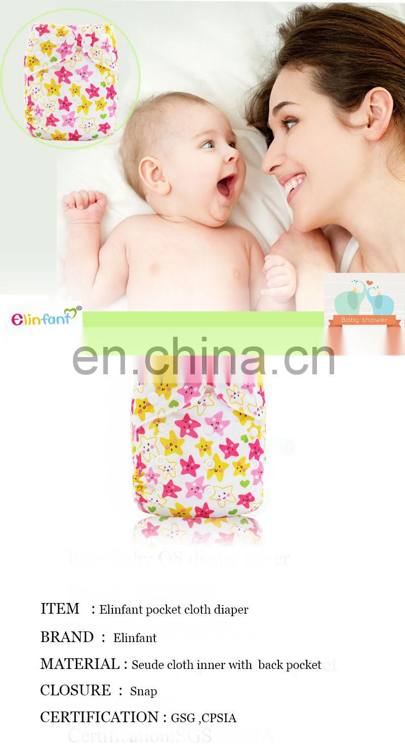Elinfant 2017 Customized Pattern Baby Pocket Cloth Diaper Wholesale Cloth Diapers