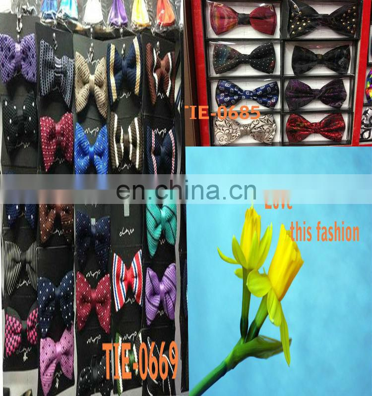 2014 fashion double-deck groom wedding pure color grid cheap bow tie for men latest design