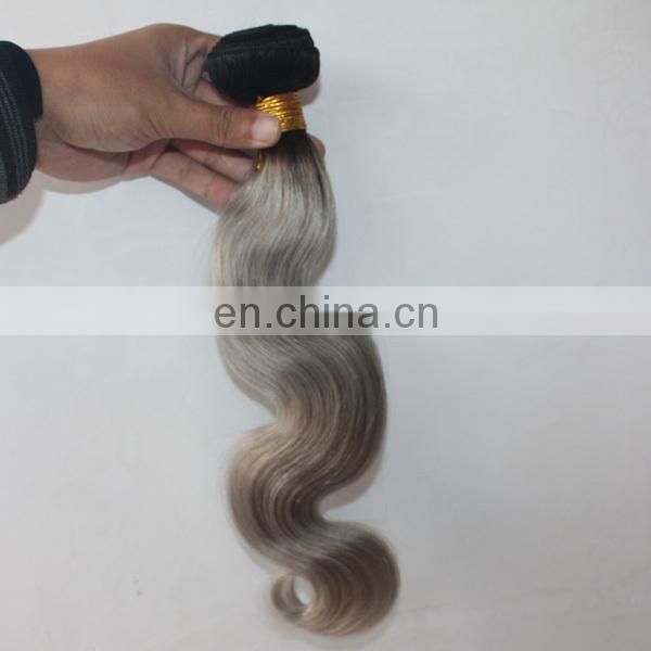 Big quality in stock Ombre color #1b/#grey human hair weft best selling grey brazilian hair