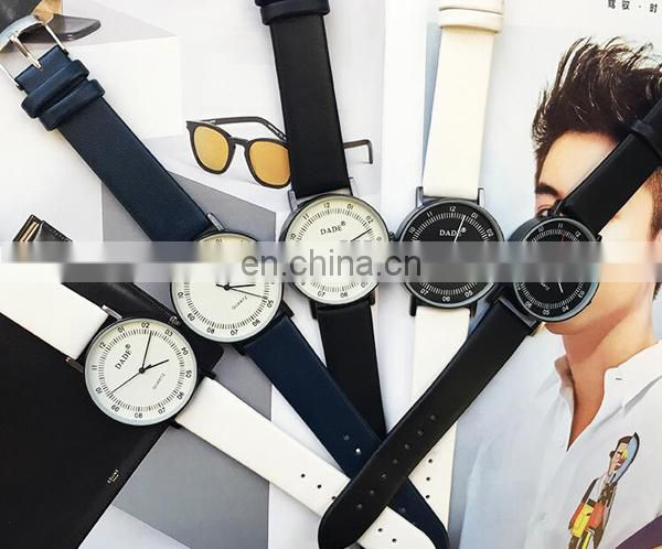 Fashion wrist watch leather watch simple man watch