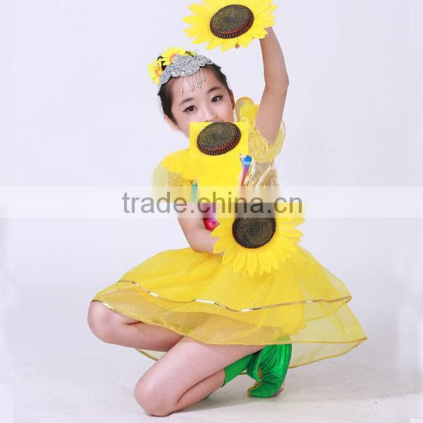 Wholesale baby girls dresses girls dance costume dress western dance dress for girls yellow
