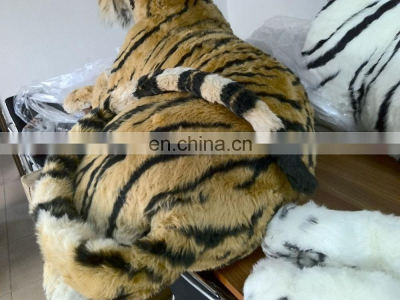 hot selling life size realistic tiger plush toy wild animal style plush tiger posed in a realistic stance. African jungle
