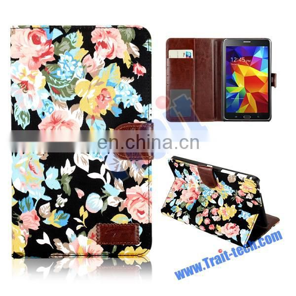 Jean Cloth Flowers Design Foldable Stand Leather Case for Samsung Galaxy Tab 4 7.0 T230 T231 T235 with Card Slots