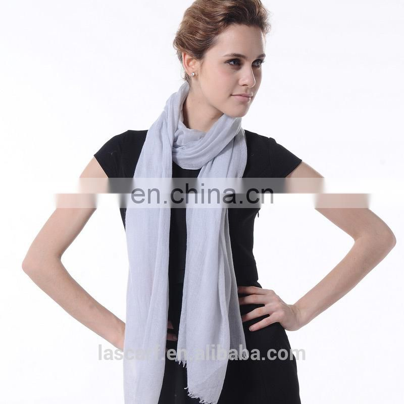 grey solid color cashmere scarf