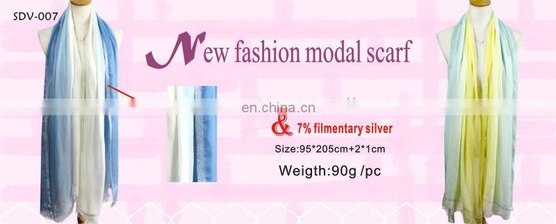 100%modal scarf with filmentary sliver 2014 new design for lady modal cashmere scarf