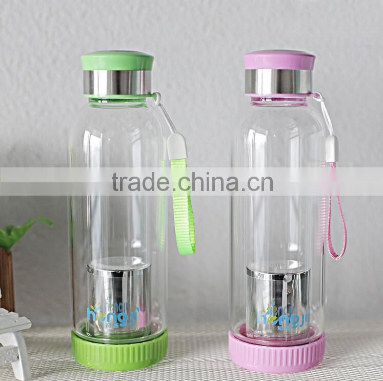 high temperature resistant glass, Tea infuser water bottle glass cup lemon Creative car gifts cups tea strainer sport bottle
