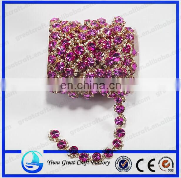 Crystal Silver Plated Light Red/Light Siam Rhinestone Chain Trims Cup Chain Wedding Cake Decoration