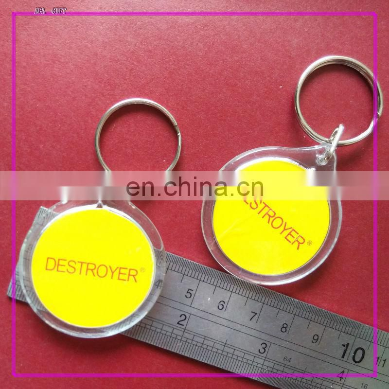 High Quality Souvenir plastic photo insert keychain in oval shape