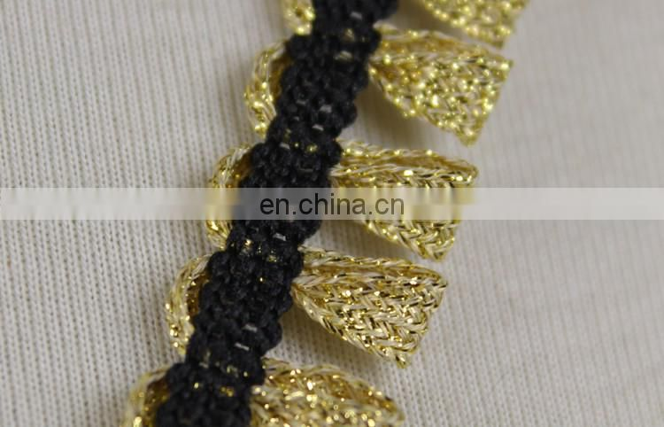 Italy design gold lurex fringes lace trim for clothes