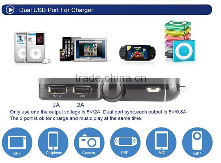2015 New design MP3 Play USB FM Frequency Transmitter Dual USB Port Bluetooth Car Charger