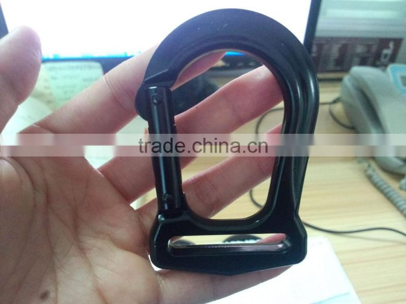 Black rope climbing clasp,metal carabiner hook,85*53mm