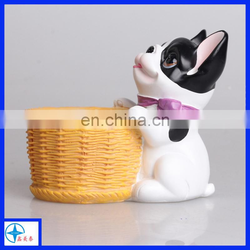 customized resin flower pot of dog figure for home decoration