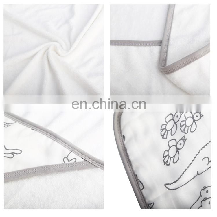 Elinfant 100% Cotton White Gold Muslin Swaddle Hooded Baby Towel Comfort Blanket