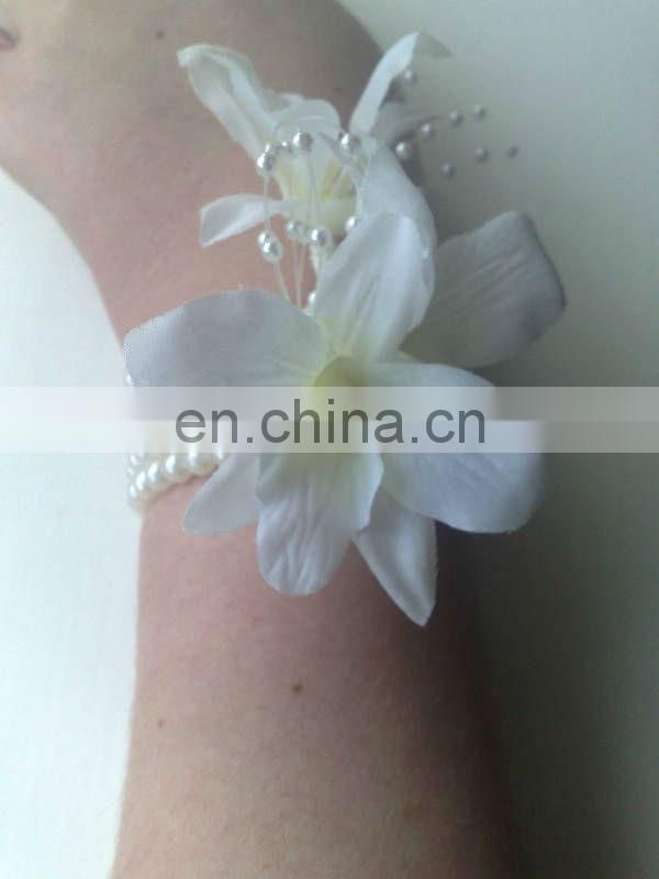 Silk Orchids Flowers Pearl Wrist Corsage