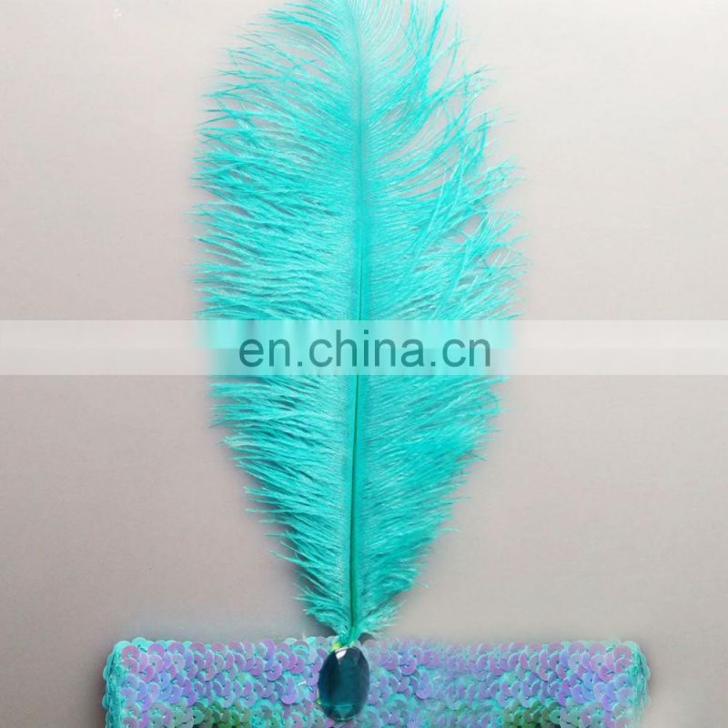 Sequin Ostrich Feather Flapper Headpiece headband For Dance Party