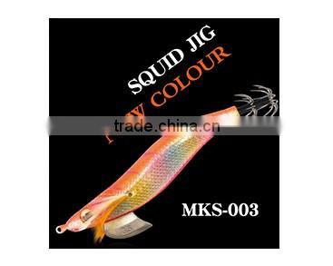 Gold body red head double hook squid jig