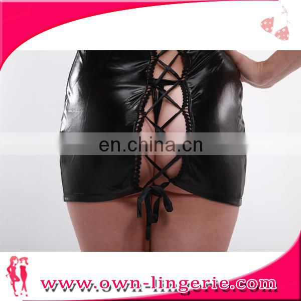 Wholesale Sexy Black Leather Fashion American Sexy Ladies Hot Girls Without Dress