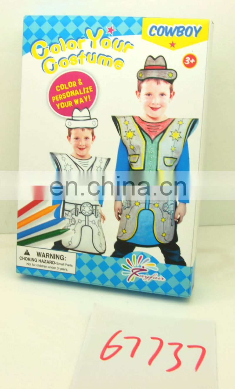 DIY painting non-woven super hero cosplay costume for kids