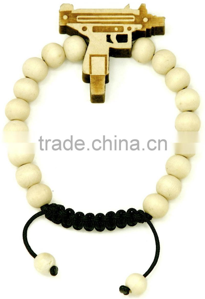 Uzi New Natural Good Wood Style Bracelet Adjustable Macrame With 10mm Wood Beads