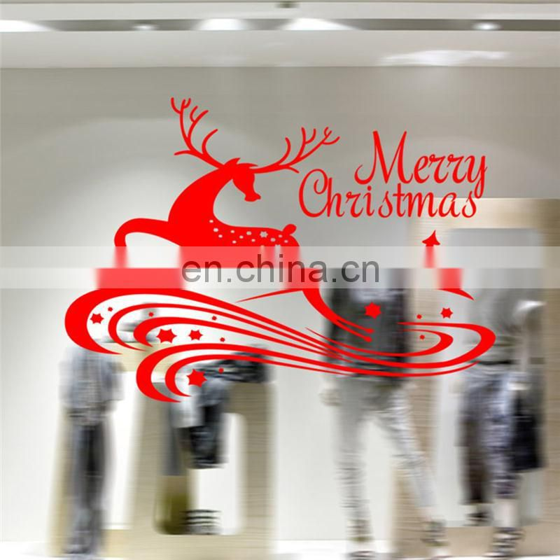 Christmas Home Decoration Supply Merry Christmas Sika Deer Christmas Tree Pattern Removable Car Wall Stickers