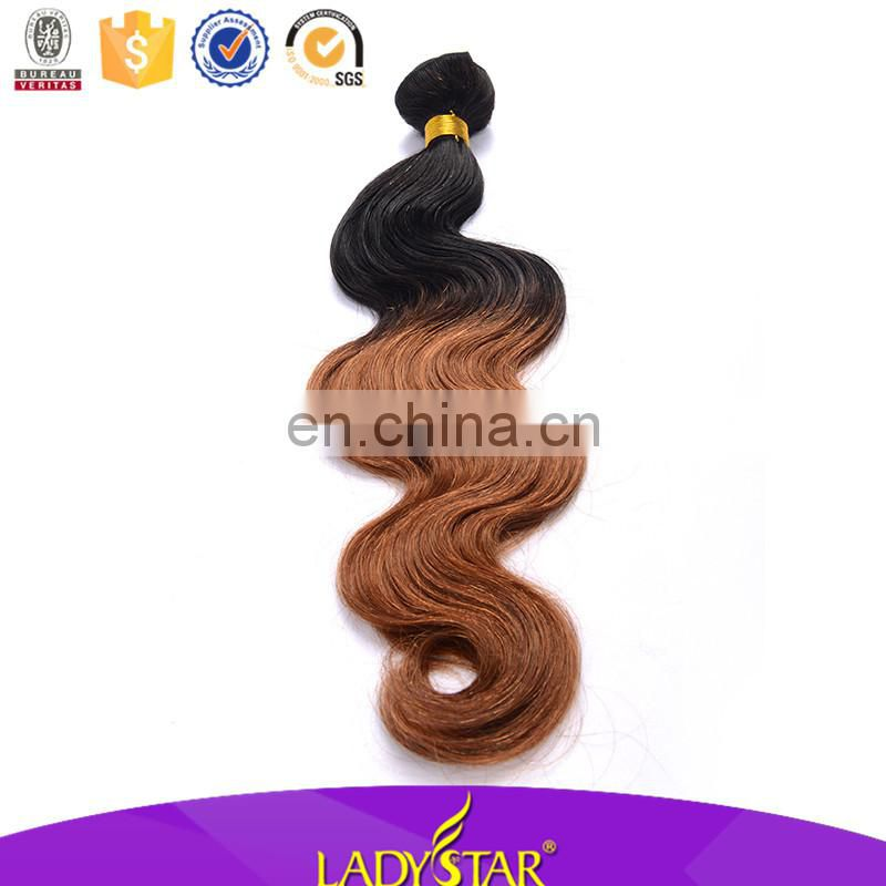Lady star human hair two toned hair weave body wave 100% brazilian human hair weave